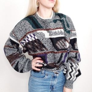 80-90s Vintage Geometric Oversized Grandpa Sweater